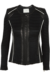 Iro Giana Leather Trimmed Waffle Knit Cotton Blend Jacket Black
