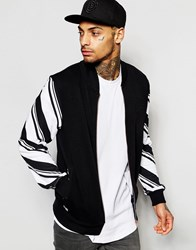 New Era Varsity Jacket With Stripe Sleeves Black