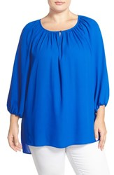 Plus Size Women's Vince Camuto High Low Peasant Blouse Poolside