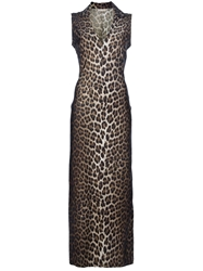Future Ozbek Vintage Leopard Print Maxi Dress Brown