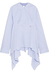 Off White Open Back Embroidered Striped Cotton Poplin Shirt Light Blue