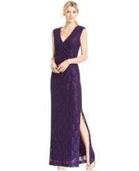 Connected Petite Sequined Lace Gown Eggplant