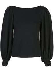 Mother Of Pearl Puffed Sleeve Blouse Black