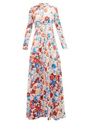 Vika Gazinskaya Floral Print High Neck Maxi Dress Multi