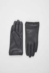 Cos Gathered Leather Gloves Black