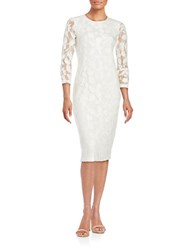 Shoshanna Lace Topped Three Quarter Sleeved Sheath Dress Off White