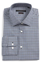 John Varvatos Men's Big And Tall Star Usa Regular Fit Stretch Check Dress Shirt Navy