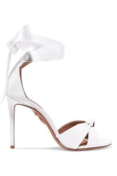 Aquazzura All Tied Up Grosgrain Sandals White Gbp