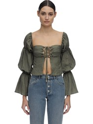Cult Gaia Claire Draped Linen Shirt Olive Green