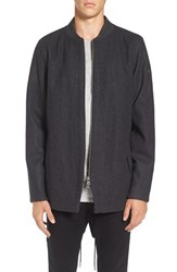 Zanerobe Men's Aten Melton Wool Blend Longline Fishtail Bomber Jacket