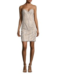 Glamour By Terani Couture Strapless Bodycon Dress Silver Nude