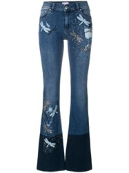Red Valentino Dragonfly Patch Bootcut Jeans Cotton Spandex Elastane Polyester Blue