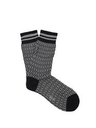 Valentino Optical Intarsia Knit Cotton Blend Socks Navy