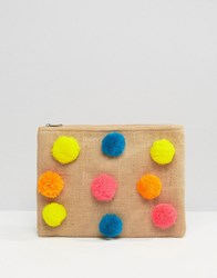 Glamorous Zip Top Pouch With Pom Poms Natural Multi