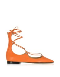 Pinko Mercurio Orange Leather Pointed Ballet Flats