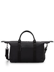 Cole Haan Leather Trimmed Nylon Canvas Travel Duffle Black