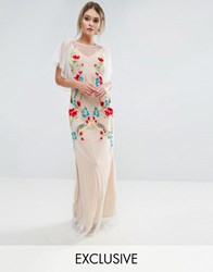 Hope And Ivy Embroidered Sheer Maxi Dress With Fishtail Flutter Sleeve White