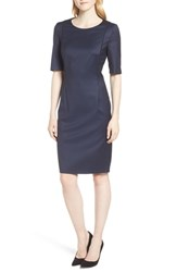 Boss Duleani Dark Blue Wool Melange Dress Blue Fantasy