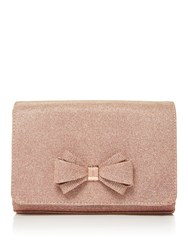 Ted Baker Kimmeyy Glitter Bow Clutch Rose Gold
