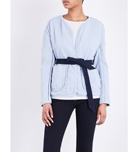 Rag And Bone Montana Tie Front Quilted Cotton Jacket Pale Blue