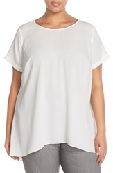 Plus Size Women's Vince Camuto High Low Short Sleeve Blouse New Ivory