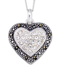 Lord And Taylor Crystal Heart Pendant Necklace Black