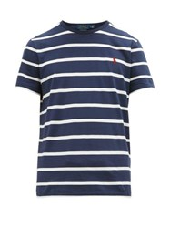 Polo Ralph Lauren Logo Embroidered Striped Cotton Jersey T Shirt Navy White
