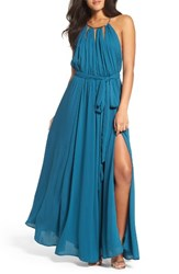 Lulus Women's Gold Metallic Halter Neck Chiffon Gown Teal