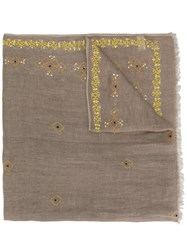 Altea Embroidered Detail Scarf Nude And Neutrals