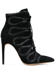 Alexandre Birman Embellished Lace Up Boots Black