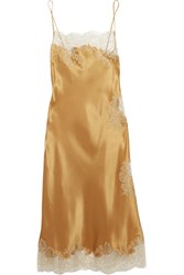 Carine Gilson Chantilly Lace Trimmed Silk Satin Chemise Gold