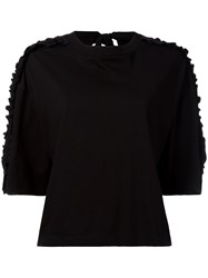 Steve J And Yoni P Frill Detail Drop Shoulder Jumper Women Cotton Xs Black
