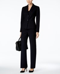 Le Suit Pinstriped Pantsuit Navy
