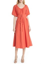 Tracy Reese Corseted Peasant Dress Blood Orange