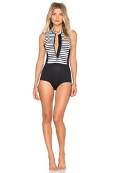 Amuse Society Kalea Striped Neoprene One Piece Black And White