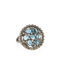 Bavna Round London Blue Topaz And Diamond Cocktail Ring Women's