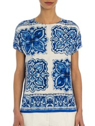 Dolce And Gabbana Tile Print Stretch Silk Charmeuse Blouse White Blue