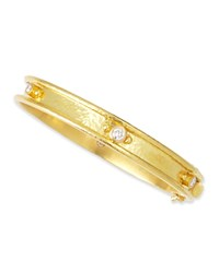 19K Gold Flat Thin Diamond Bangle Elizabeth Locke