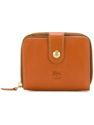 Il Bisonte Logo Embossed Wallet Brown