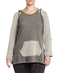 Marc New York By Andrew Marc Long Sleeve Hooded Tunic Black White