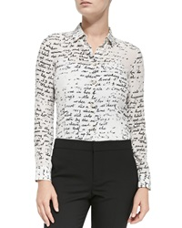 Red Valentino Long Sleeve Blouse W Poem Print