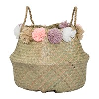 Bloomingville Seagrass Basket With Pom Poms Multi