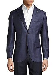Lubiam Notch Lapel Check Wool Jacket Navy