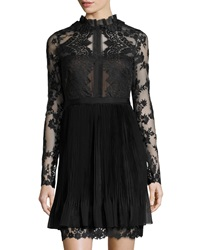 Notte By Marchesa Lace Long Sleeve Cocktail Dress Black