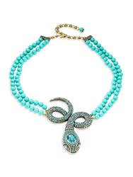 Heidi Daus Crystal Snake Statement Necklace Turquoise