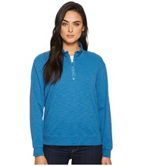 Mod O Doc Heather Slub Rib 1 2 Zip Funnel Pullover Yacht Sweatshirt Blue