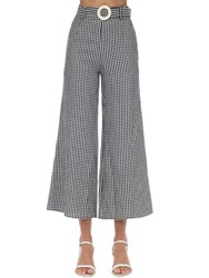 Solid And Striped Poplin Gingham Palazzo Pants Black