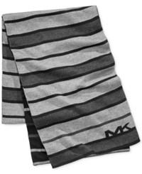 Michael Kors Men's Tonal Stripe Scarf Black Charcoal Ash