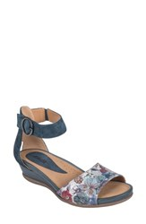 Earth 'S Hera Sandal Blue Floral Printed Suede