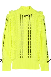 Christopher Kane Silk Trimmed Neon Cashmere Turtleneck Sweater Yellow